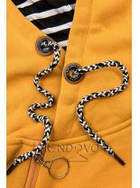Žltá dlhá mikina s kapucňou
