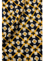Modro-žlté šortky s potlačou