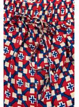 Červeno-modré šortky s potlačou