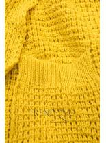 Žltý asymetrický pletený kardigán