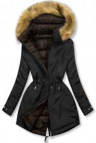 Čierna/hnedá prešívaná obojstranná bunda