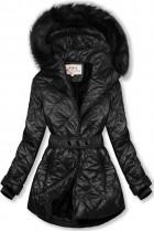Čierna lesklá zimná bunda s opaskom