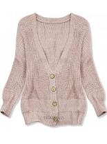 Púdrovo ružový pletený sveter na gombíky