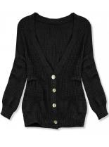 Čierny pletený sveter na gombíky