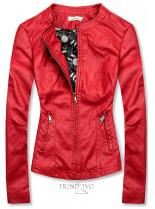 Červená koženková bunda so vzorovanou podšívkou
