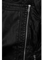 Čierna koženka so šikmým zipsom