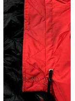 Obojstranná jarná parka červená/čierna