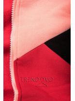 Trojfarebná tepláková súprava marhuľovo-červeno čierna