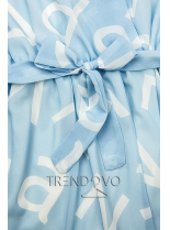 Bledomodré midi šaty s potlačou písmen
