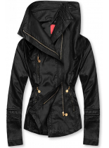 Čierna koženková bunda s vysokým golierom