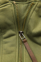 Khaki mikina v asymetrickom strihu