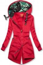 Červená mikina so vzorovanou kapucňou