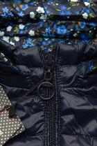 Obojstranná bunda s kvetinovým futrom tmavomodrá