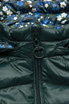 Obojstranná bunda s kvetinovým futrom zelená