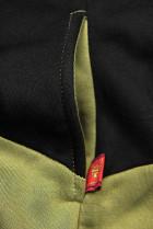 Tepláková súprava s kvetinovou podšívkou khaki/čierna