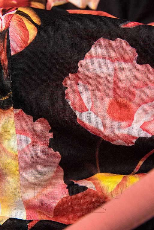 Tepláková súprava s kvetinovou podšívkou červená/čierna