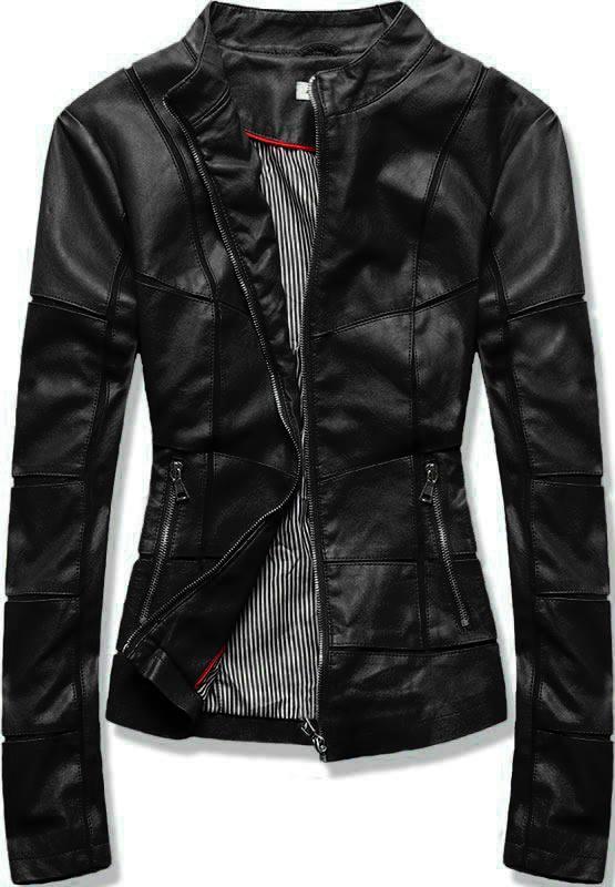 Čierna koženková bunda s prešívaním